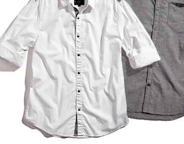 WHITE/GRAY MEN'S SHIRT