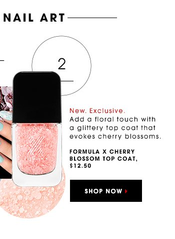 New. Exclusive Add a floral touch with a glitter-embedded topcoat that evokes cherry blossoms. Formula X Cherry Blossom Topcoat, $ 12.50 SHOP NOW