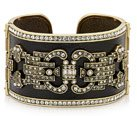 SPARKLING CHIC LEATHER & CRYSTAL CUFF