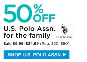 50% off U.S. Polo Assn. for the family | Sale $9.99-$24.99 (Reg. $20-$50) | Shop U.S. Polo Assn