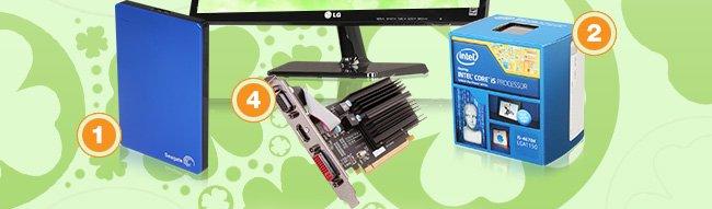 "MENU:         Seagate 1TB USB 3.0 Portable Hard Drive Intel Core i5-4670K Desktop Processor LG 21.5"" 1080p LED-Backlit IPS Monitor XFX One Radeon HD 5450 1GB Video Card"