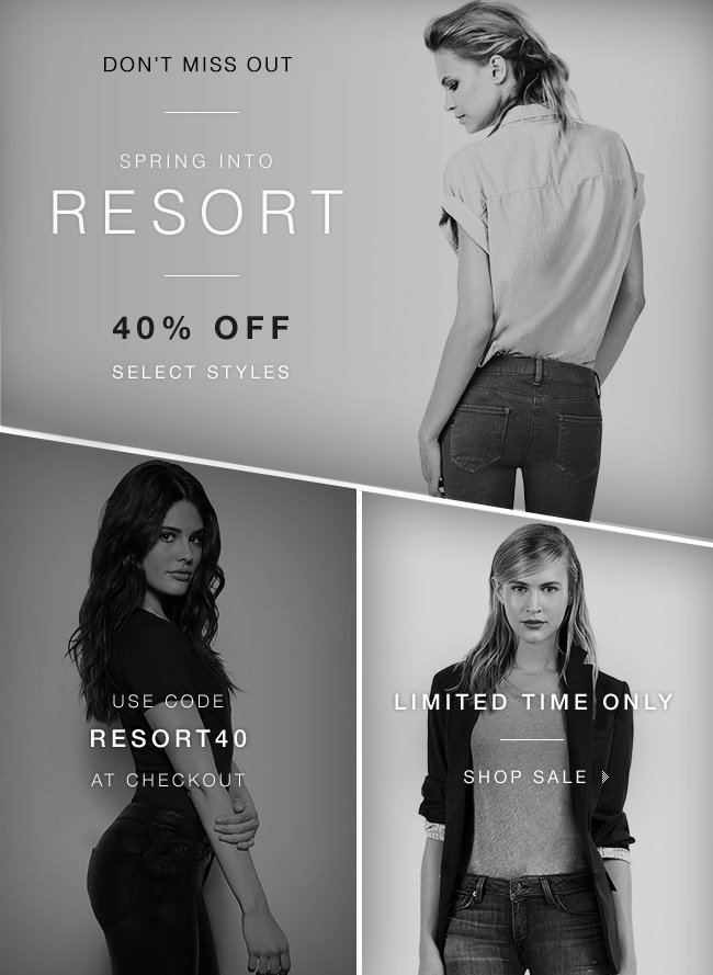 Don't Miss Out! Enjoy 40% OFF select styles for Spring