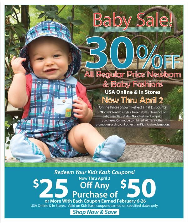 Stock Up For Baby! 30% Off Regular Price Newborn & Baby Fashions + Kids Kash Coupon Redemption