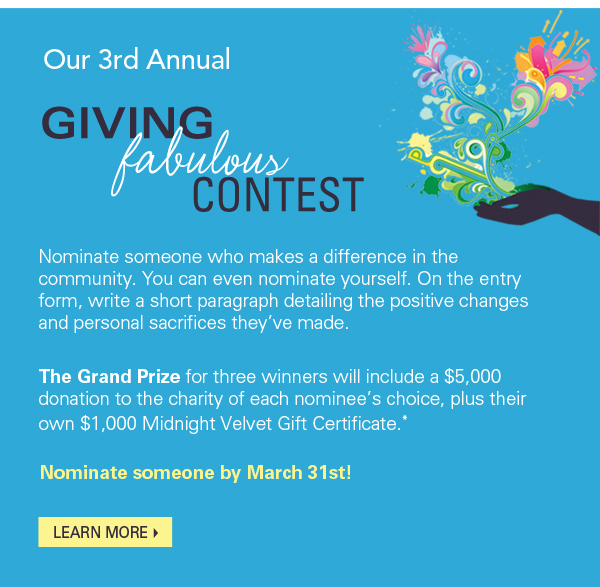 Our 3rd Annual Giving Fabulous Contest. Learn More