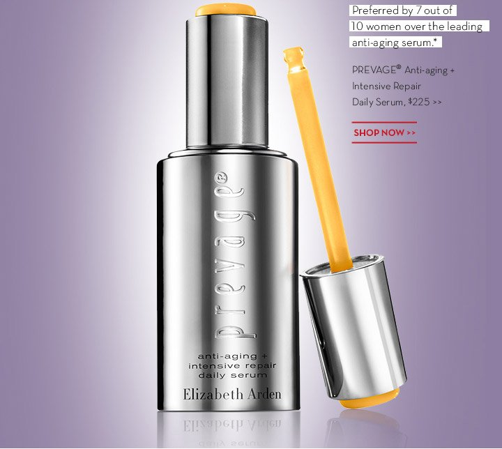 Preferred by 7 out of 10 women over the leading anti-aging serum.* PREVAGE® Anti-aging + Intensive Repair Daily Serum, $225. SHOP NOW.