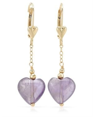 14k Gold Amethyst Chain Drop Earrings