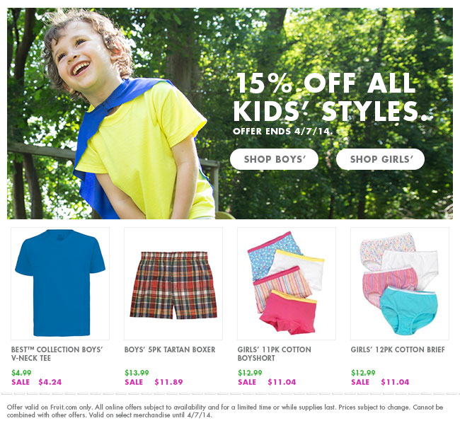 15% off all Kids' Styles.