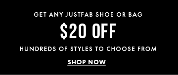 Get Any JustFab Shoe Or Bag - $20 Off