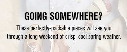 Going Somewhere? These perfectly-packable pieces will see you through a long weekend of crisp, cool spring weather.