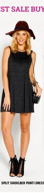 Split Shoulder Ponti Dress