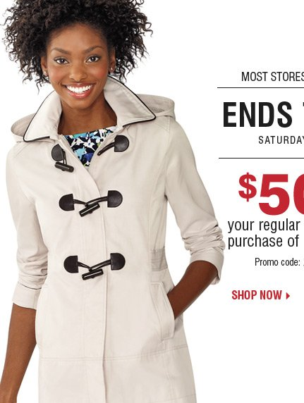 Starts Today! Now through Saturday, March  29 - 2-Days Only! $50 off your regular or sale price purchase of $100 or  more***  Shop now.