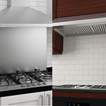 Ancona Chef Under Cabinet II Kitchen Range Hoods and Ancona 5 Burner Stainless Steel GAS Cooktops