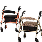 Journey Rolling Walker with Faux Fur Cover and Backrest by Nova