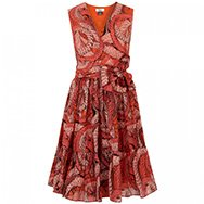 ISSA - Printed silk and cotton blend dress