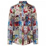 MARKUS LUPFER - Floral patchwork silk shirt
