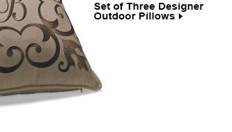 Set of Three Designer Outdoor Pillows