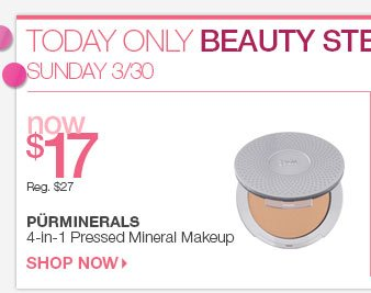 033014_BS_Sunday 3/30 Beauty Steal - Pureminerals 4 in 1 Pressed Mineral Makeup - Now $17.