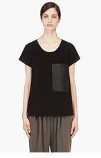 RAG & BONE Black Crepe & leather New Basic Pocket T-shirt for women