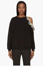 CHRISTOPHER KANE Black Crystal Embellished Cut-Out Shoulder Sweater for women