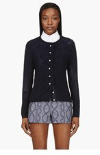 THOM BROWNE Navy Pearl Button Cashmere Cardigan for women