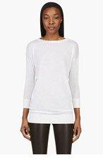 VERSACE Ivory Wool Studded Neck Overlong Semisheer Top for women