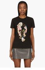 ALEXANDER MCQUEEN Black & Pink Embroidered PATCHwork SKULL t-shirt for women