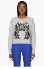 MCQ ALEXANDER MCQUEEN Heather Grey Lace Embroidery Sweater for women