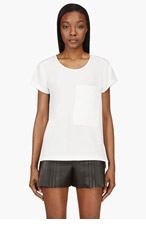 RAG & BONE Ivory Croc Leather Pocket New Basic T-shirt for women