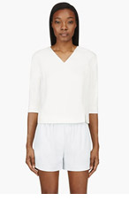 MAIYET Ivory Silk Crepe Cropped-sleeve Blouse for women
