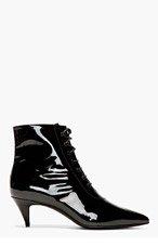 SAINT LAURENT Black Patent Leather Victorian Boots for women