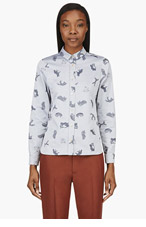 MAISON KITSUNE Blue Fox Print Shirt for women