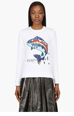KENZO White Patchwork 'Big Fish' Sweater for women
