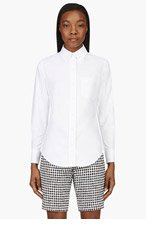 THOM BROWNE White Classic Cotton Button-Down Blouse for women