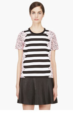 MOTHER OF PEARL Pink & Black Rose Stripe Boxy Juno T-shirt for women