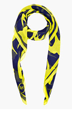 MCQ ALEXANDER MCQUEEN Chartreuse & Navy Swallow Storm Print Modal Scarf for women