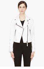 MACKAGE White Glossy Leather Lucia Biker Jacket for women