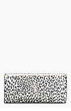SAINT LAURENT White & Black Leather Babycat Print Monogram Clutch for women