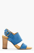 CHLOE Blue Suede Heeled Sandals for women