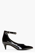 SAINT LAURENT Black Patent Leather Studded Kitten Heels for women