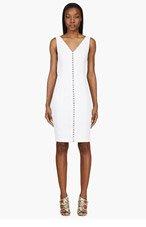VERSACE White Linen Hook-front V-Neck Dress for women