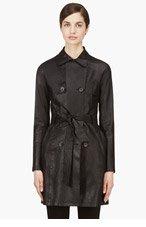 MACKAGE Black Lambskin Olesya Leather Trench for women