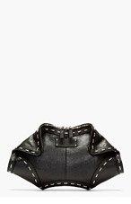 ALEXANDER MCQUEEN Black Leather Metallic Wire De Manta City Clutch for women