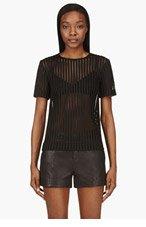 RAG & BONE Black Honeycomb mesh Oda Blouse for women