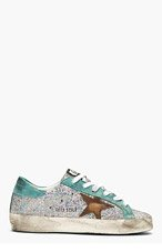 GOLDEN GOOSE Silver Iridescent Scale Super Star Sneakers for women