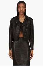 VERSACE Black Glossy Basketwoven jacket for women