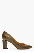 CHLOE Brown Grained Leather Metal Trimmed Heels for women