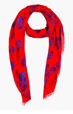 ALEXANDER MCQUEEN Red & Indigo Skull Print Scarf for women