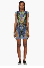 MCQ ALEXANDER MCQUEEN Indigo Kaleidoscope Crocodile Print Sheath Dress for women