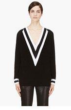 RAG & BONE Black & White Talia V-Neck Sweater for women