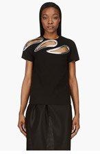 CHRISTOPHER KANE Black Wool Crepe Petal Cut-Out T-Shirt for women